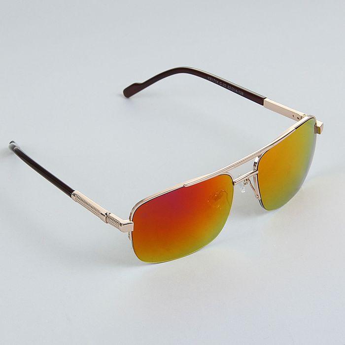 Очки солнцезащитные Square, оправа под золото, дужки рифлёные золотистые, линзы радужные