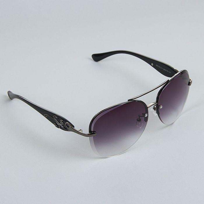 """Очки солнцезащитные """"Авиаторы"""", оправа чёрный хром, дужки — вставка узорная, линзы чёрные, градиент"""