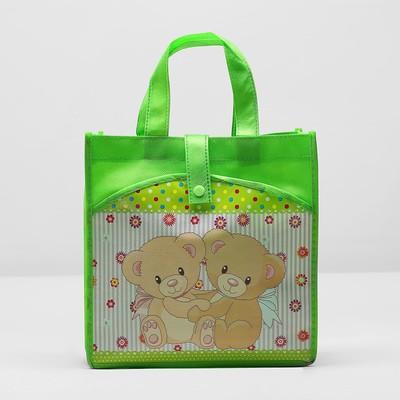"""Сумка детская на кнопке """"Мишки"""", 1 отдел, наружный карман, цвет зелёный"""