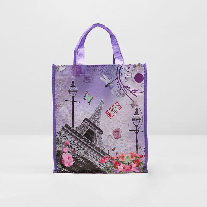 """Сумка хозяйственная """"Города"""", 1 отдел, цвет фиолетовый"""