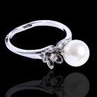 """Кольцо """"Жемчужина"""" цветок, цвет белый в серебре, размер 16"""