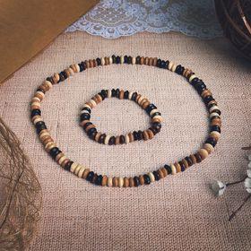 """Набор 2 предмета: бусы, браслет """"Этника"""" очарование, цвет коричнево-чёрный"""