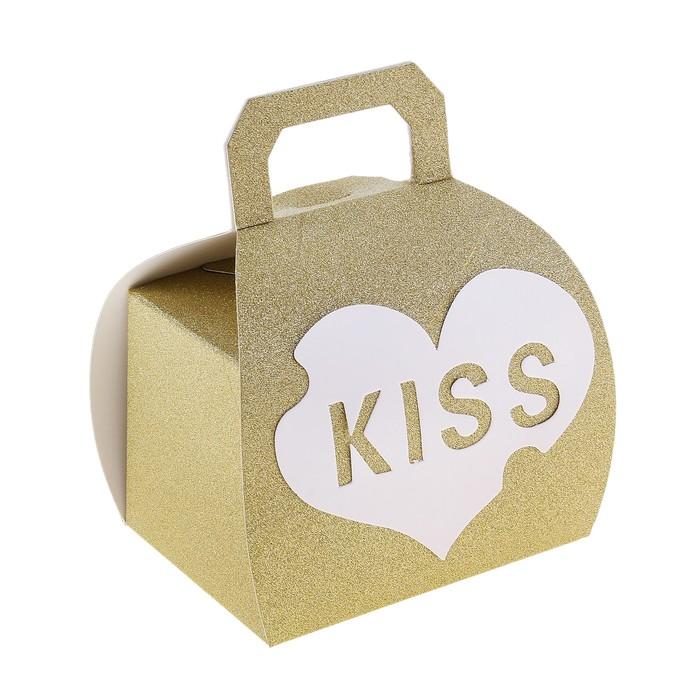 """Коробка сборная """"Kiss"""" большая, цвет золотой"""