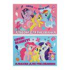 Альбом для рисования А4, 16 листов на клею My Little Pony, выборочный УФ-лак, блок 100г/м2, МИКС
