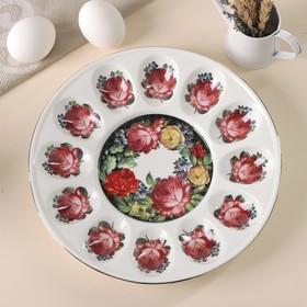 """Блюдо пасхальное для яиц """"Роковая роза"""" 25,2х3 см"""