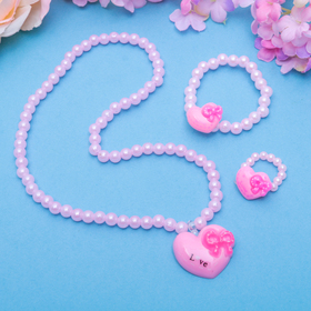 """Набор детский """"Выбражулька"""" 3 пред-а: бусы, браслет, кольцо, сердце с бантиком, цвет МИКС"""