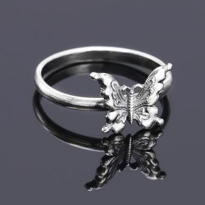 """Кольцо посеребрение с оксидированием """"Бабочка"""", 19 размер"""