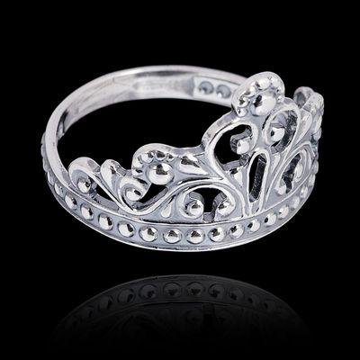 """Кольцо """"Корона"""" принцессы, посеребрение с оксидированием, 19р-р"""