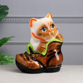 """Копилка """"Кот в ботинке"""" глянец, серая"""