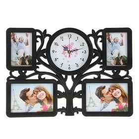 Часы настенные хайтек+4 фоторамки Дерево черные, цифер микс (фото 10х15-2шт 13х18-2шт) 34х47см 196