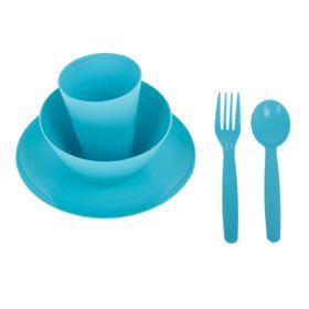 Набор посуды для детей, 5 предметов: тарелка, миска, стакан, ложка и вилка, цвет бирюза Ош