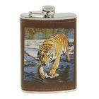 Фляжка 270 мл, рисунок Тигр, кожзам, коричневая 9.5х15 см