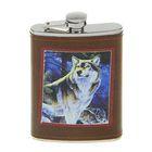 Фляжка 270 мл, рисунок Волк, кожзам, коричневая 9.5х15 см