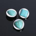"""Кнопка для браслета """"Круг"""" бирюзовый мир, цвет бело-голубой в серебре"""
