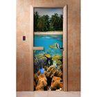 стеклянные двери с рисунком для бани