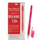 Ручка шариковая Pentel Feel it!, трёхгранная зона захвата, узел-игла 1.0мм, стержень красный, масляная основа, металлический наконечник, резиновый грипп