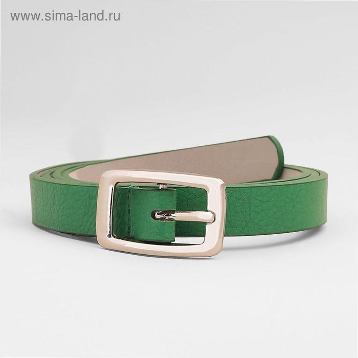 Ремень жен 03-01-02-01, 2*0,3*105см, матовый, 2 стр, пряжка серебро, зеленый