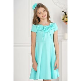 Платье детское, цвет бирюза, размер 28, рост 98