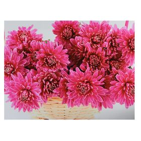 Картина на подрамнике 'Корзина розовых хризантем' Ош