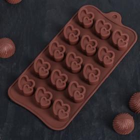 Форма для льда и шоколада, 15 ячеек, 20,7х10,7 см 'Двойное сердце', цвета МИКС Ош