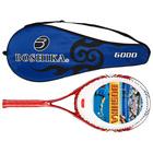 Ракетка для большого тенниса BOSHIKA 768 тренировочная, алюминиевая, 352 г, в чехле, цвет красный