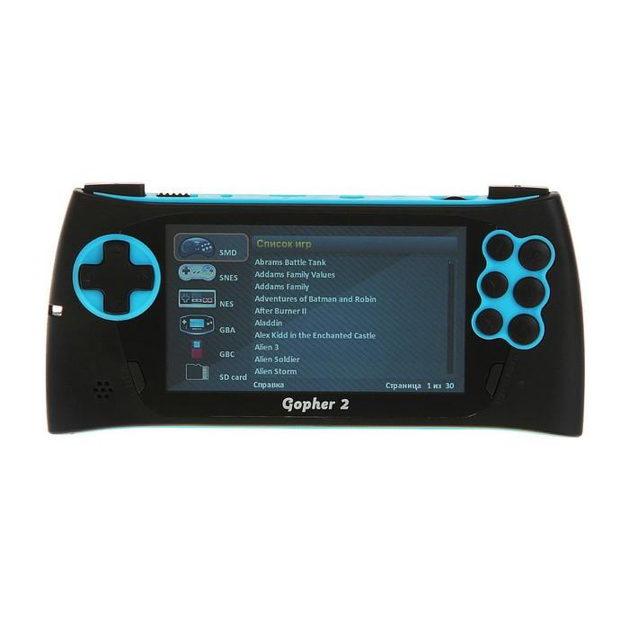 """Игровая приставка Sega Genesis Gopher 2, LCD 4.3"""", 500 игр, синяя"""