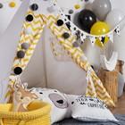 Вигвам  для детей с окном, карманом и флажками,жёлтый зигзаг, 110x110x160 см