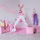Вигвам  для детей   с окном, карманом и флажками, розовый, 110x110x160 см