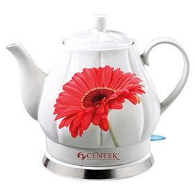 """Чайник электрический Centek CT-0062, 2200 Вт, 2 л, белый/рисунок """"орхидея"""""""