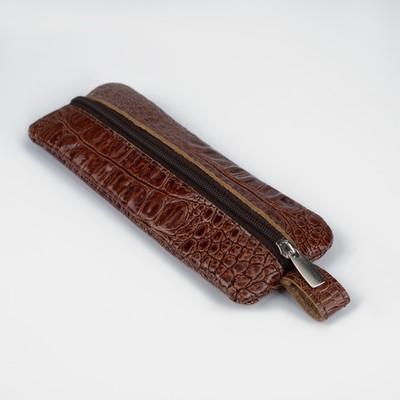 Ключница на молнии, 1 отдел, кольцо, крокодил, цвет коричневый