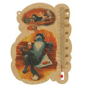 Деревянный термометр банный 'Котик' с УФ печатью, Ош