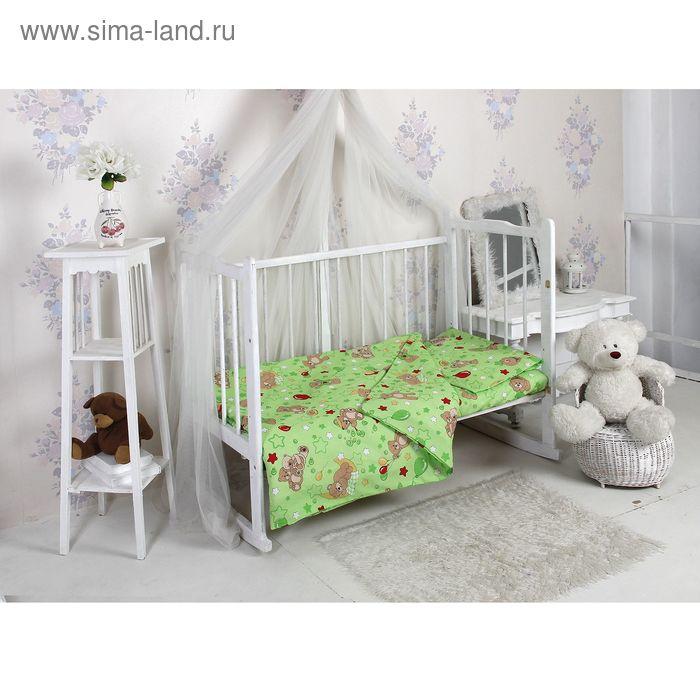Детское постельное бельё (рис. 350-2) Веселый мишка зелёное 112х147 см, 110х150 см, 40х60 см, 1 шт., бязь 125 гр хл.