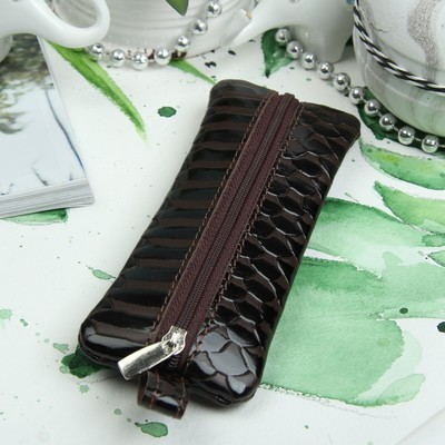 Ключница на молнии, 1 отдел, кольцо, скат, цвет тёмно-коричневый