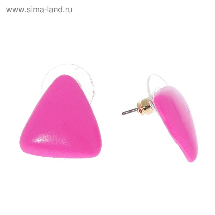 """Серьги """"Треугольник неоновый"""", цвет розовый неон"""