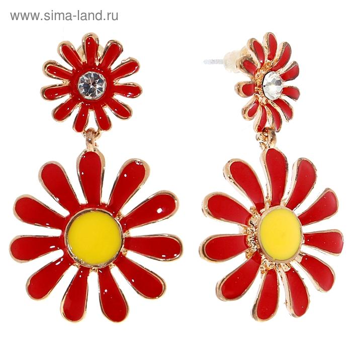 """Серьги """"Цветы"""" две ромашки, цвет красно-жёлтый"""