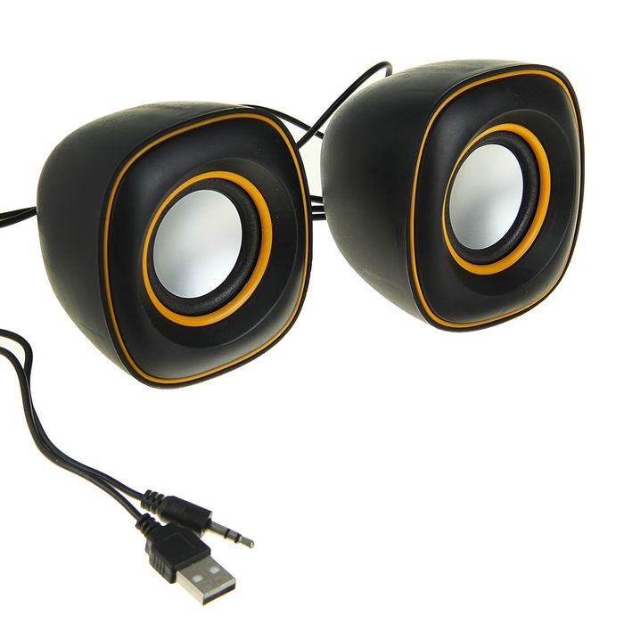 Портативные колонки USB для ПК/разъем 3,5, 023, черные с желтым