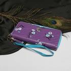 Кошелек жен 07-02-07, 19*2*10, 3отд, д/кред, д/монет, с ручкой, крокодил сиреневый