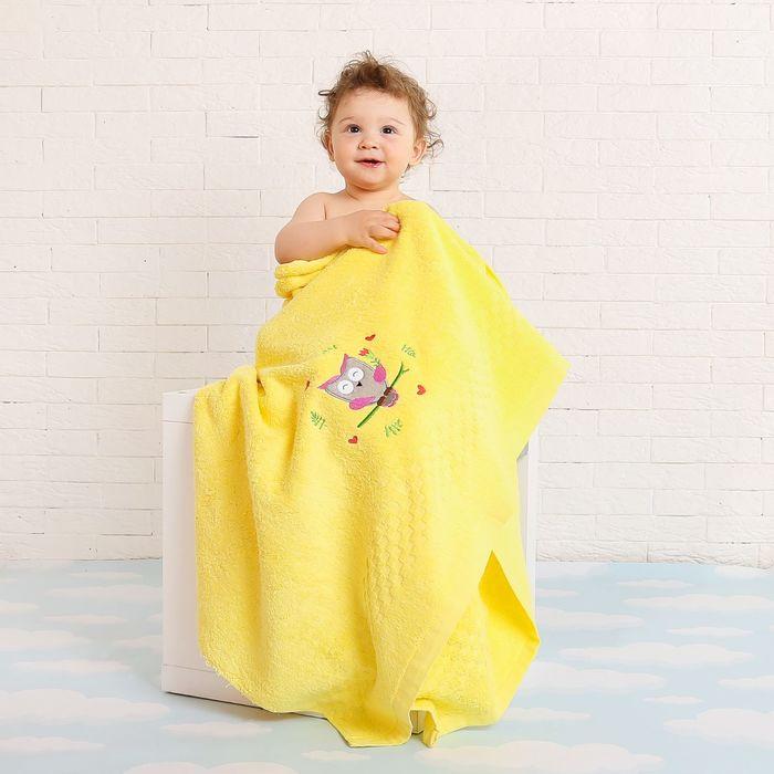 Полотенце детское Collorista Добрая сова , цвет жёлтый, 100х150 см, 400 гр/м2