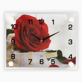 """Часы настенные прямоугольные """"Роза с подарком"""", 20х26 см"""