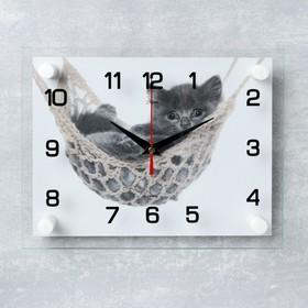 Часы настенные прямоугольные 'Котенок в гамаке', 20х26 см Ош