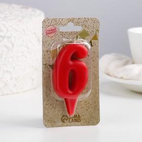 "Свеча для торта цифра ""Овал"" красная ""6"", плёнка"