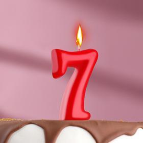 "Свеча для торта цифра ""Овал"" красная ""7"", плёнка"