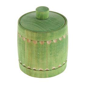 Бочонок для мёда и сыпучих продуктов 150 мл, 95*70 мм, зелёный резной, липа Ош