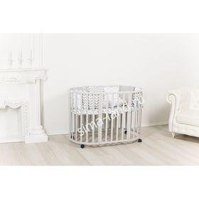 Детская кроватка-трансформер Incanto Mimi 7 в 1, круглая/овальная, серая