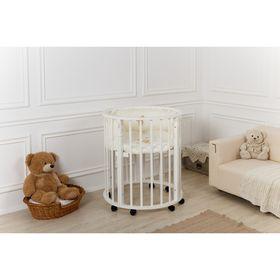Детская кроватка-трансформер Incanto Gio Deluxe 7 в 1, круглая/овальная, белая