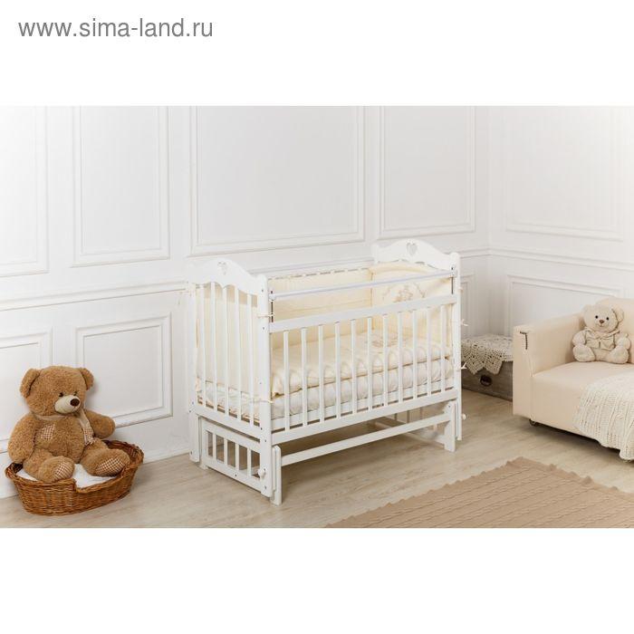 Кроватка детская Incanto Sofi с сердечком, продольное качание, белая