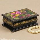 Шкатулка «Розы и гербера», 6х9 см, лаковая миниатюра