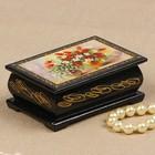 Шкатулка «Тюльпаны, нарциссы и ландыши», 6х9 см, лаковая миниатюра