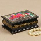 Шкатулка «Пионы в плетёной корзинке», 6х9 см, лаковая миниатюра