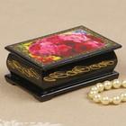 Шкатулка «Пионы с розами», 6х9 см, лаковая миниатюра
